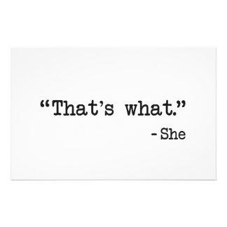 それは彼女が引用文を言ったことです 便箋