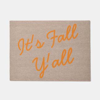 それは秋おもしろいなこんにちはの引用文のヒップスターのバーラップです ドアマット