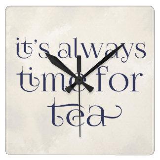 それは茶の時間常にです スクエア壁時計