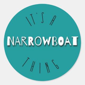それはNarrowboatの事の円形のステッカーです 丸形シールステッカー