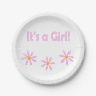 それはTiffanyのための女の子のピンクの花柄です ペーパープレート