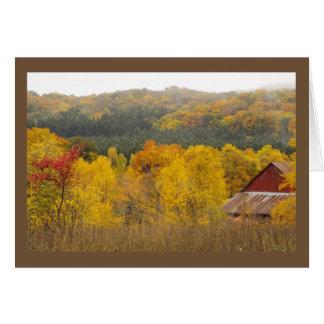 """""""それらの丘に金ゴールドが""""あります(ミシガン州の秋) カード"""