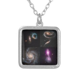 それらの信じられないい銀河のデザイン シルバープレートネックレス