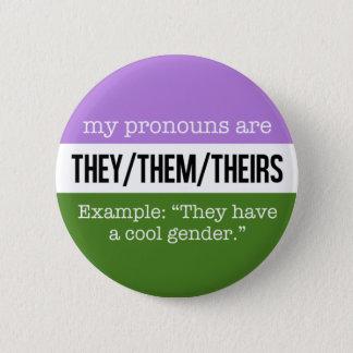 それらまたはそれら代名詞- Genderqueerの旗 缶バッジ