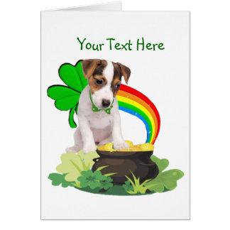 それをジャックラッセルの子犬のSt pattys dayカードカスタマイズ カード
