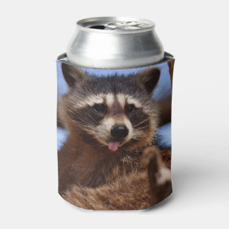 それを付けているおもしろいなアライグマは舌です 缶クーラー