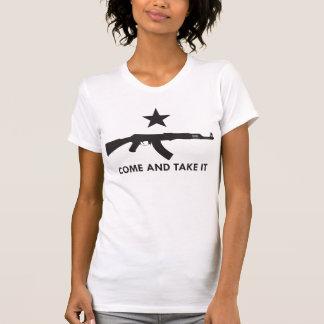 それを取ります来て下さい! (カラシニコフ自動小銃) Tシャツ