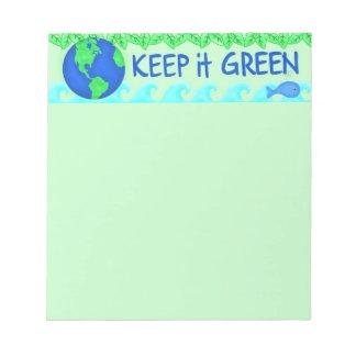 それを緑の保存の地球の環境の芸術保って下さい ノートパッド