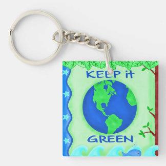 それを緑の環境の正方形のKeychain保って下さい キーホルダー
