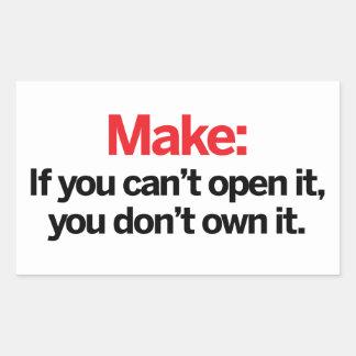 それを開けることができなければ 長方形シール