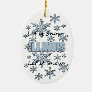 それオーナメント割り当てられるイリノイのクリスマスの雪が降るため セラミックオーナメント