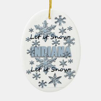 それオーナメント割り当てられるインディアナのクリスマスの雪が降るため セラミックオーナメント