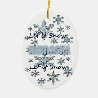 それオーナメント割り当てられるネブラスカのクリスマスの雪が降るため セラミックオーナメント