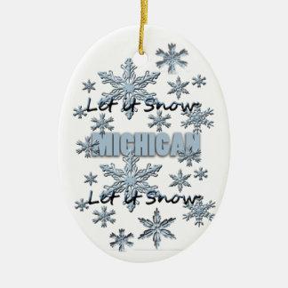 それオーナメント割り当てられるミシガン州のクリスマスの雪が降るため セラミックオーナメント