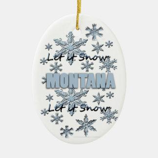 それオーナメント割り当てられるモンタナのクリスマスの雪が降るため セラミックオーナメント