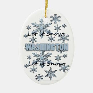 それオーナメント割り当てられるワシントン州のクリスマスの雪が降るため セラミックオーナメント