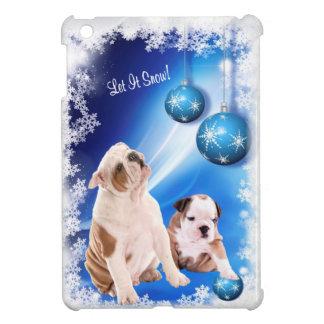 それデザイン割り当てられるブルドッグの子犬の雪が降るため iPad MINIケース