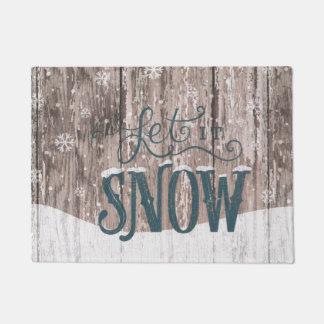 それドア・マット割り当てられるクリスマスの休日の冬の雪が降るため ドアマット
