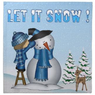 それナプキン割り当てられる雪だるまの布の雪が降るため(4) ナプキンクロス