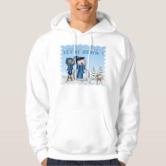 それフード付きスウェットシャツ割り当てられる雪だるまの人の雪が降るため パーカ