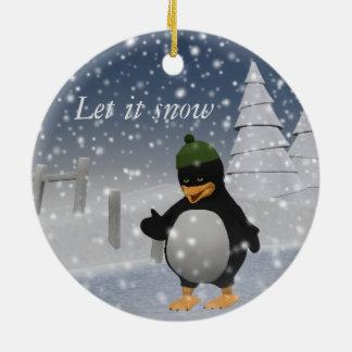 それペンギン割り当てられる雪が降るため セラミックオーナメント