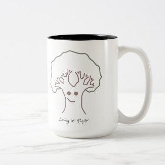 それ住んでいて右の幸せな木2はコーヒーのマグにある調子を与えます ツートーンマグカップ