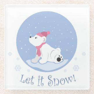 それ割り当てられる雪が降るため! (白くま) ガラスコースター