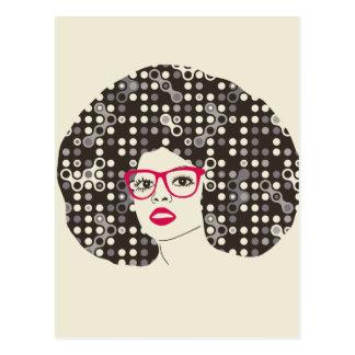 それ官能的で赤い唇およびtechieのアフロ型の女の子 ポストカード