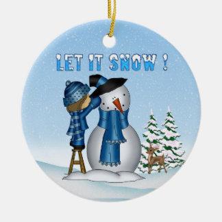 それ雪だるま割り当てられる雪が降るためにオーナメントを円形にして下さい セラミックオーナメント