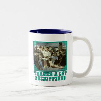 たくさんありがとうのPhidippidesのおもしろいなマラソンのティー ツートーンマグカップ