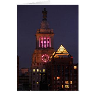 たそがれでピンクでついているエジソンの時計台を騙して下さい カード