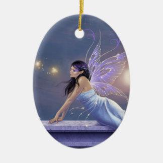 たそがれのきらめくの妖精の楕円形の陶磁器のオーナメント セラミックオーナメント