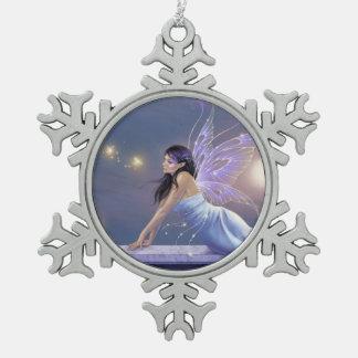 たそがれのきらめくの妖精の雪片のオーナメント スノーフレークピューターオーナメント