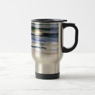 たそがれの海洋波のビーチの波の装飾の芸術 トラベルマグ