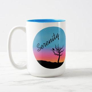 たそがれの空の平静のデザイン ツートーンマグカップ
