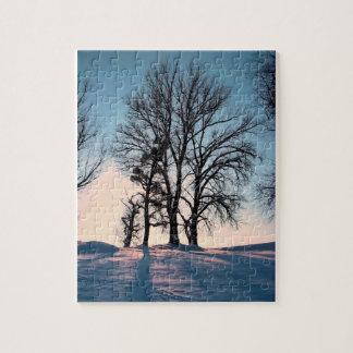 たそがれの青空の冬の木 ジグソーパズル