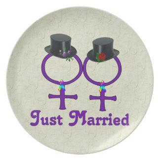 たった今結婚しましたのフォーマルなレズビアン プレート