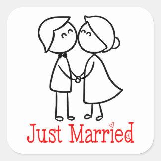 たった今結婚しましたの新郎新婦の漫画の結婚式 スクエアシール