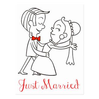 たった今結婚しましたの新郎新婦の結婚式の発表 ポストカード