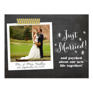 たった今結婚しましたの発表の郵便はがきは感謝していしています ポストカード