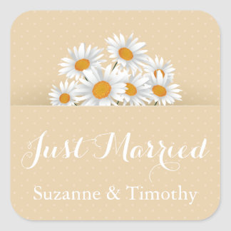たった今結婚しましたの白いデイジーのタンの花の水玉模様 スクエアシール