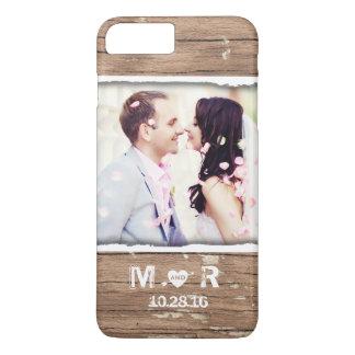 たった今結婚しましたの素朴な国の結婚式の写真および日付 iPhone 8 PLUS/7 PLUSケース