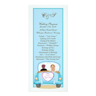 たった今結婚しましたクラシックな車の結婚式プログラム ラックカード