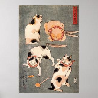 たとえ尽の内の(の上の)、国芳の日本のな猫(1)、Kuniyoshi、Ukiyo-e ポスター
