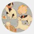 たとえ尽の内の(の下の)、国芳の日本のな猫(3)、Kuniyoshi、Ukiyo-e ラウンドシール