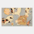 たとえ尽の内の(の下の)、国芳の日本のな猫(3)、Kuniyoshi、Ukiyo-e 長方形シール