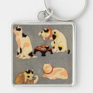 たとえ尽の内の(の中の)、国芳の日本のな猫(2)、Kuniyoshi、Ukiyo-e シルバーカラー正方形キーホルダー
