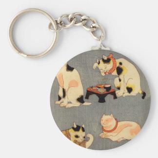 たとえ尽の内の(の中の)、国芳の日本のな猫(2)、Kuniyoshi、Ukiyo-e ベーシック丸型缶キーホルダー