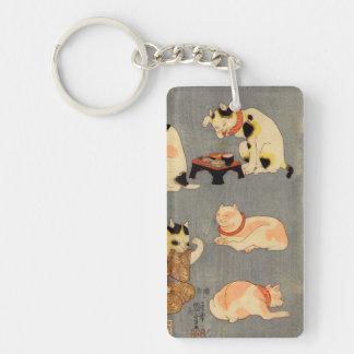 たとえ尽の内の(の中の)、国芳の日本のな猫(2)、Kuniyoshi、Ukiyo-e 長方形(両面)アクリル製キーホルダー