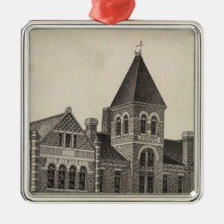 たる製造人の記念の大学、純銀、カンザス シルバーカラー正方形オーナメント